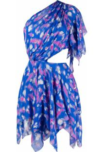 Isabel Marant Vestido Assimétrico De Seda - Azul