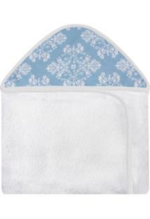 Toalha De Banho C/ Capuz Estampado Laura Baby Provençal Azul