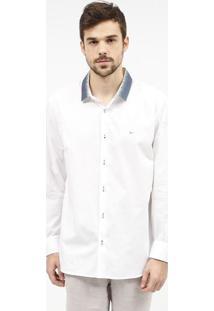 Camisa Slim Fit Com Bordado Da Marca - Branca & Azul Mararamis