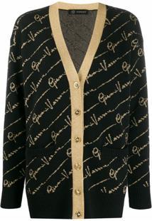 Versace Cardigan Com Estampa De Logo - Preto