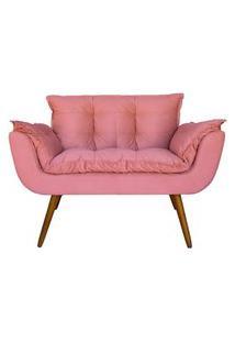 Namoradeira Poltrona Sofá Decorativa 02 Lugares Opalla Pés Palito Rosa - Ds Móveis