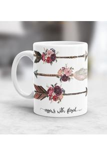 Caneca Porcelana Wevans Arrows With Floral