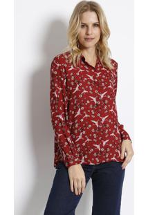 Camisa Aves & Flores- Vermelha & Branca- Intensintens