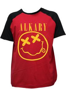 Camiseta Alkary Raglan Manga Curta Nirvana Vermelha E Preta