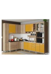 Cozinha Completa Multimóveis Com 9 Peças Sicília 5802 Argila/Amarelo