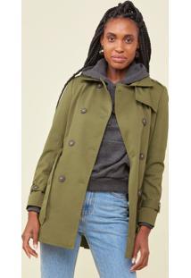 Trench Amaro Coat London Breeze Verde Militar - Verde - Feminino - Dafiti