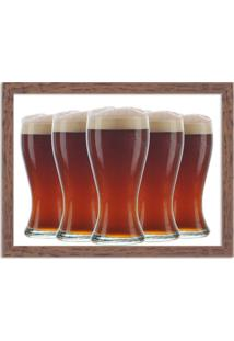 Quadro Decorativo Garagem Copos De Cerveja Geladas Madeira - Grande