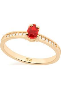 Anel Com Zircônias E Pedra Rommanel - Feminino-Vermelho