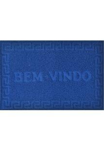 """Capacho De Porta """"Bem-Vindo""""- Azul- 90X60Cm- Nianiazitex"""