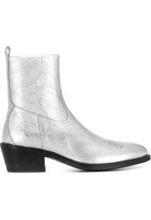 Jimmy Choo Ankle Boot Metalizada Jesse - Prateado
