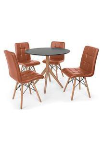 Conjunto Mesa De Jantar Maitê 80Cm Preta Com 4 Cadeiras Eiffel Gomos - Marrom