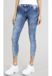 Calça Jeans Feminina Cropped Sawary Com Barra A Fio Azul Médio