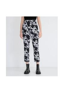Calça Mom Em Sarja Estampa Animal Print Vaca | Blue Steel | Preto | 36