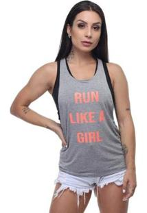 Regata Run Girl Com Fita Neon Hard Clothing Fit Feminina - Feminino