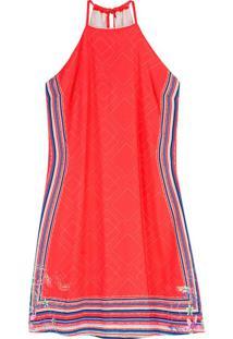 Vestido Vermelho Curto Com Listras