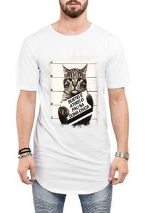 Camiseta Criativa Urbana Long Line Oversized Engraçada Gato Dona Chica - Masculino-Branco