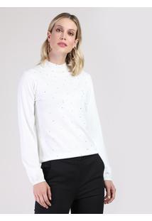 Suéter Feminino Em Tricô Com Strass Gola Alta Branco