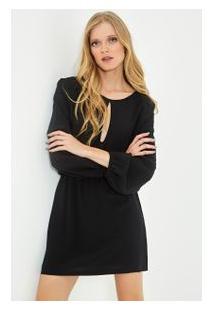 Vestido Decote Seda Preto