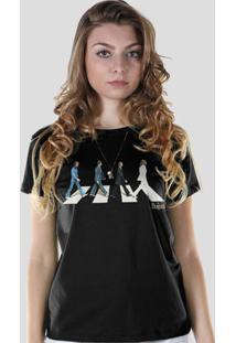 Camiseta Bandup! The Beatles Abbey Road - Feminino-Preto