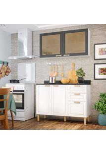 Cozinha Compacta Nevada Vii 4 Pt 3 Gv Branca E Grafite