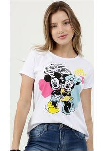Blusa Feminina Estampa Mickey E Minnie Manga Curta Disney