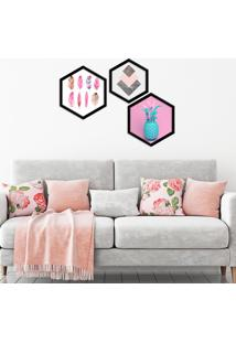 Kit 2 Quadros Com Moldura Hexagonal Pink