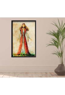 Quadro Love Decor Com Moldura Ilustração Jesus Preto Grande