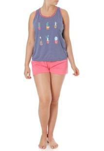 Pijama Curto Luare Mio Feminino - Feminino-Azul+Rosa