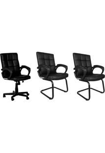 Conjunto Com 3 Cadeiras De Escritório Charles Preto