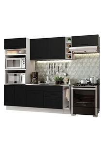 Cozinha Completa Madesa Agata 290002 Com Armário E Balcão (Sem Tampo E Pia) Branco/Preto Branco