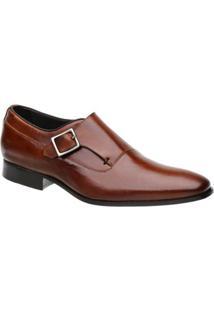 Sapato Monk Malbork Couro Masculino - Masculino-Caramelo