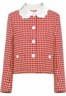Miu Miu Jaqueta Com Abotoamento Simples De Tweed - Vermelho
