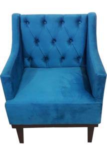Poltrona Decorativa Clássica Capitonê Suede Azul Veludo - Ds Móveis