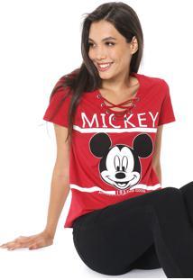 Blusa Cativa Disney Lace Up Mickey Vermelha