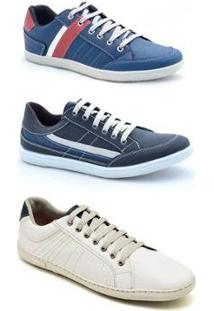 Kit 3 Pares Sapatênis Casual Dexshoes Masculino - Masculino