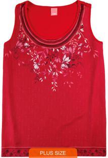 Blusa Vermelha Floral Em Cetim Leve