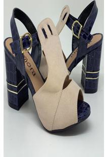 Sandalia Salto Grosso - Marinho Com Marfim