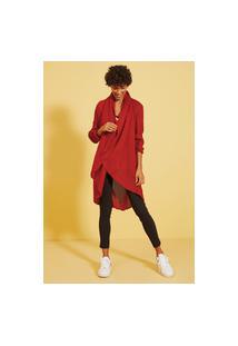 Cardigan Tricot Gola Circular Vermelho Iluminado/M