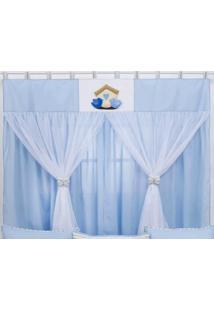 Cortina Para Quarto De Beb㪠Passarinhos Azul - Azul - Menino - Dafiti