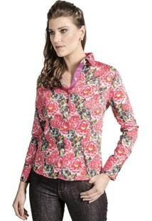 Camisa Carlos Brusman Feminina Slim Florida Pink - Feminino-Pink