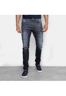 Calça Jeans Skinny Rock Blue Estonada Masculina - Masculino-Azul