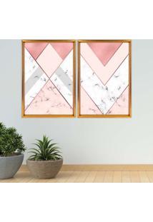 Quadro Love Decor Com Moldura Chanfrada Triângulo Com Mármore Dourado Grande