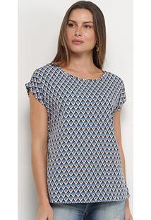 Blusa Adooro! Geométrica Feminina - Feminino-Bege+Azul
