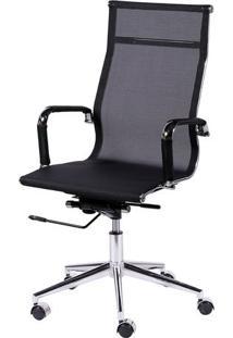 Cadeira Office Eames Tela- Preta & Prateada- 112,5X6Or Design