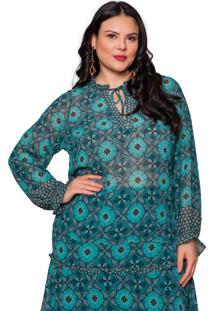 Blusa Almaria Plus Size Pianeta Estampada Vintage