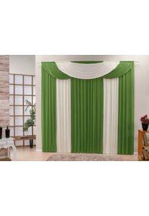 Cortina Bela Tecido Malha Gel Para Sala Ou Quarto Varão De 3,00 Largura X 2,50 Altura Verde E Palha