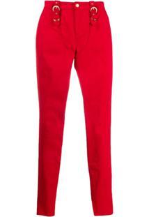 Versace Jeans Couture Calça Skinny Com Zíper - Vermelho
