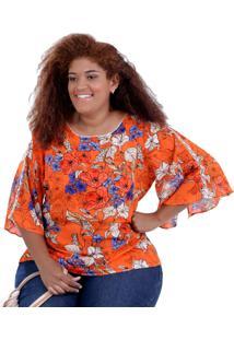 Blusa Lanna Orange Plus Size Vickttoria Vick Plus Size Laranja