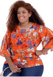 Blusa Vickttoria Vick Lanna Orange Plus Size