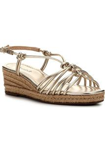 Sandália Anabela Shoestock Corda Nós Feminina - Feminino-Dourado